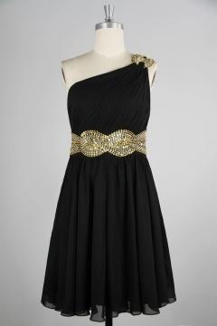 Ruching Beading One Shoulder Chiffon A line Short Formal Dress