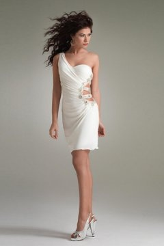 Aldridge One Shoulder White Party dress