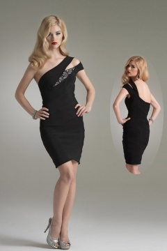 Newhaven Sexy Thigh length One shoulder Ruched Black Cocktail dress