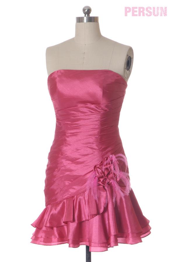 Meerjungfrau-Stil gefalten Blumen kurz rosa träglos Ballkleid