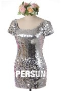 Sheath Short Sleeves Sequined Short Cocktail Dress