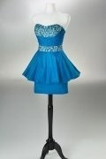 A line Strapless Beaded Taffeta Short Cocktail / Homecoming Dress