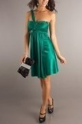 A-line One Shoulder Ruched Green Homecoming Dress