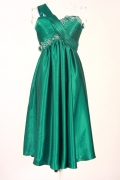 Green Ruched One Shoulder A line Satin Bridesmaid Dress