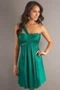 Vestido de cocktail pregueado verde linha-A um ombro