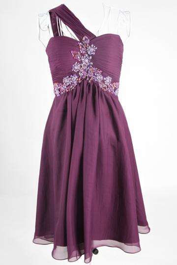 Elegant Purple Beaded One Shoulder A line Chiffon Bridesmaid Dress