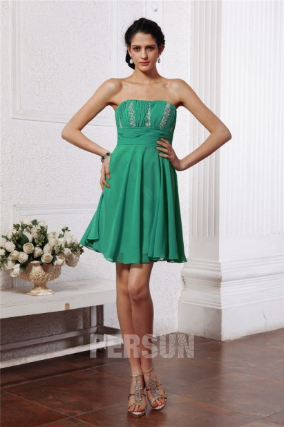 Dressesmall Cute Beading Pleats Strapless Empire Knee length Chiffon Green Short Formal Dress