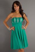 Vestido de cocktail verde bonito Império Sem alça sem muito joelho em Chiffon de seda