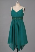 Elegant Spaghetti Beaded A line Green Chiffion Homecoming Dress