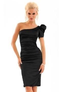 Modern One Shoulder Sheath Short Black Cocktail Dress Cheap