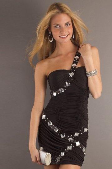 Schwarzes Ein Schulter Perlen verziertes Cocktailkleid Persun