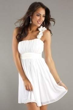 Chic One Shoulder Flower A Line Chiffon Short White Bridesmaid Dress