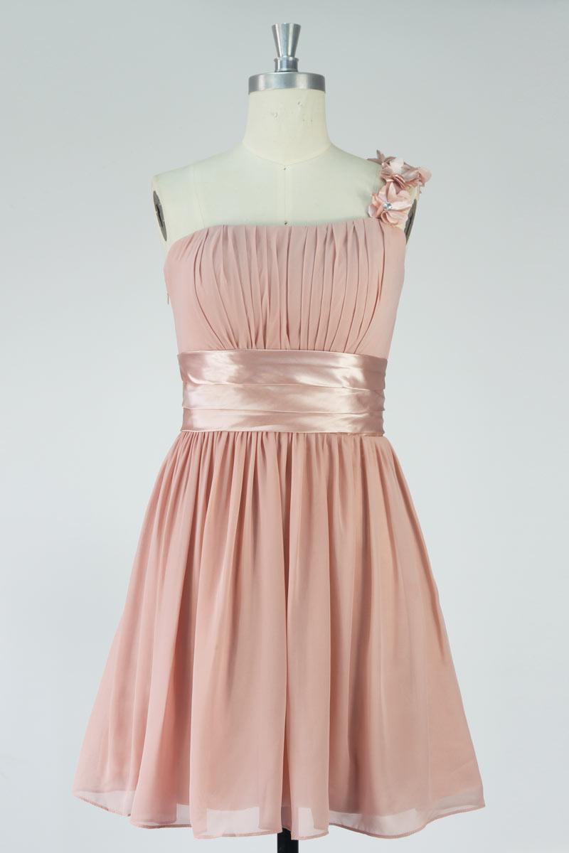 Ein-Schulter A-linie rosa kurz Empire Ballkleid aus Chiffon