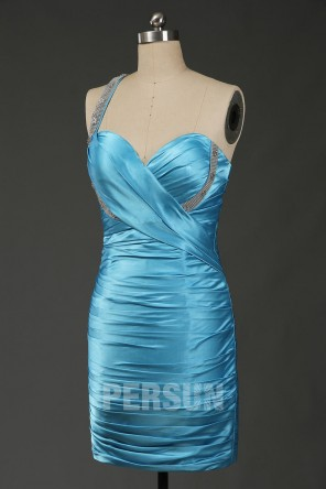 Beaded One Shoulder Satin Blue Column Short Formal Dress