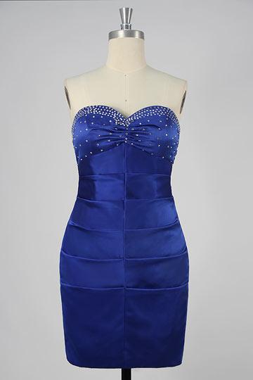 Dressesmall Beaded Strapless Sweetheart Satin Column Short Formal Dress
