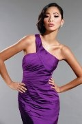 Purple Ruched One Shoulder Sheath Satin Homecoming Dress