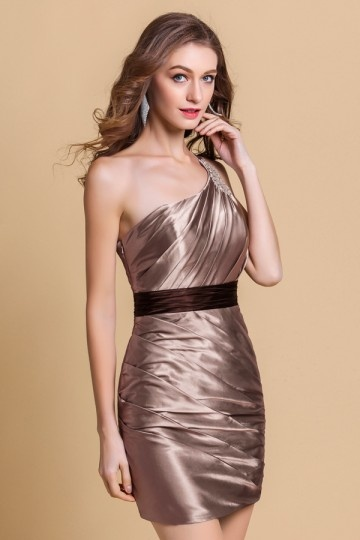 Dressesmall Ruched One Shoulder Satin Short Cocktail Dress