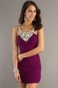 Beaded Round Neck Short Sheath Homecoming Dress