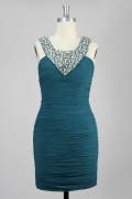 Beaded Round Neck Short Sheath Dress For Wedding Guest