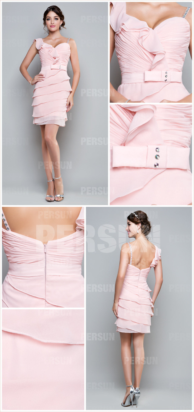 pink chiffon ruffles short formal dress details
