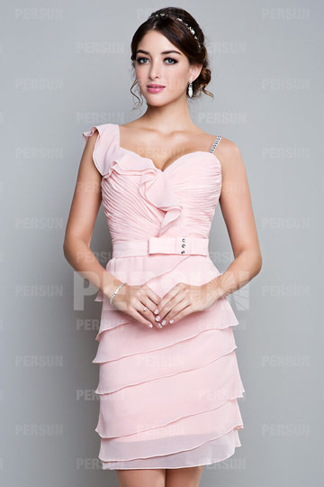 Ruffle V neck Sheath Chiffon Homecoming Dress