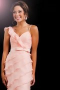 Sheath V-neck Ruffle Chiffon Homecoming Dress