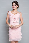 Sheath Short Mini Pink Chiffon Wedding Party Dress