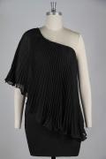 Kleines schwarzes Elegantes Ein Schulter gefaltetes Chiffon Kleid