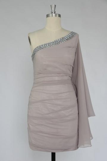 One Shoulder Beading Side Draping Column Tencel Cocktail Dress