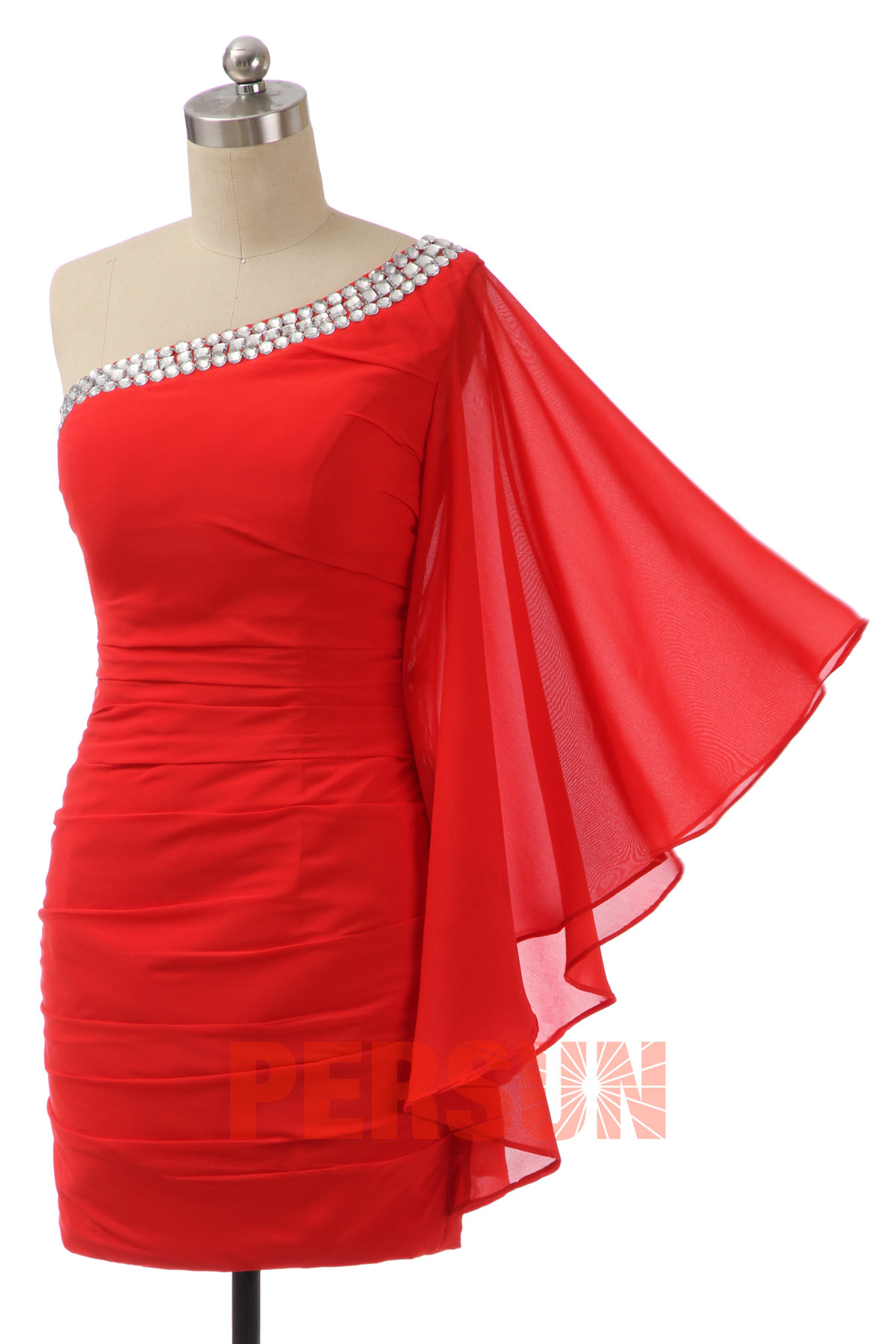 Beading Side Draping One Shoulder Tencel Column Semi Formal Cocktail Dress