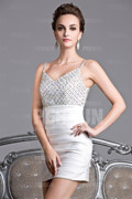 Champagne V Neck Spaghetti Strap Beading Short Cocktail Dress