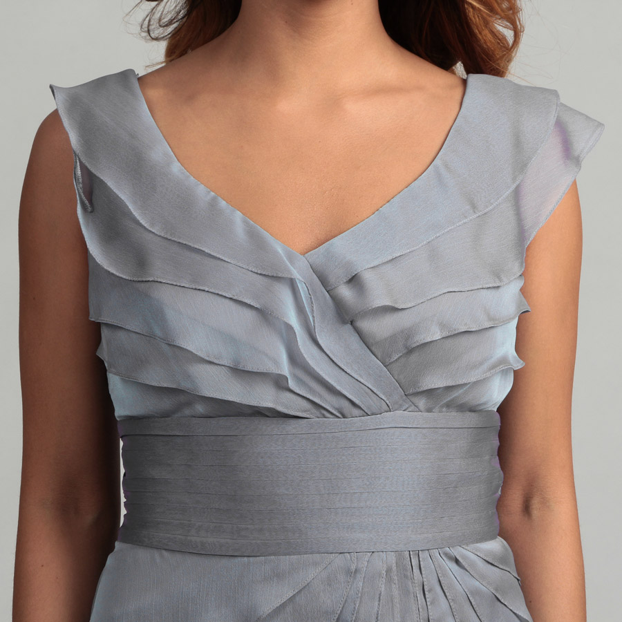 grey chiffon tiers short cocktail dress waist