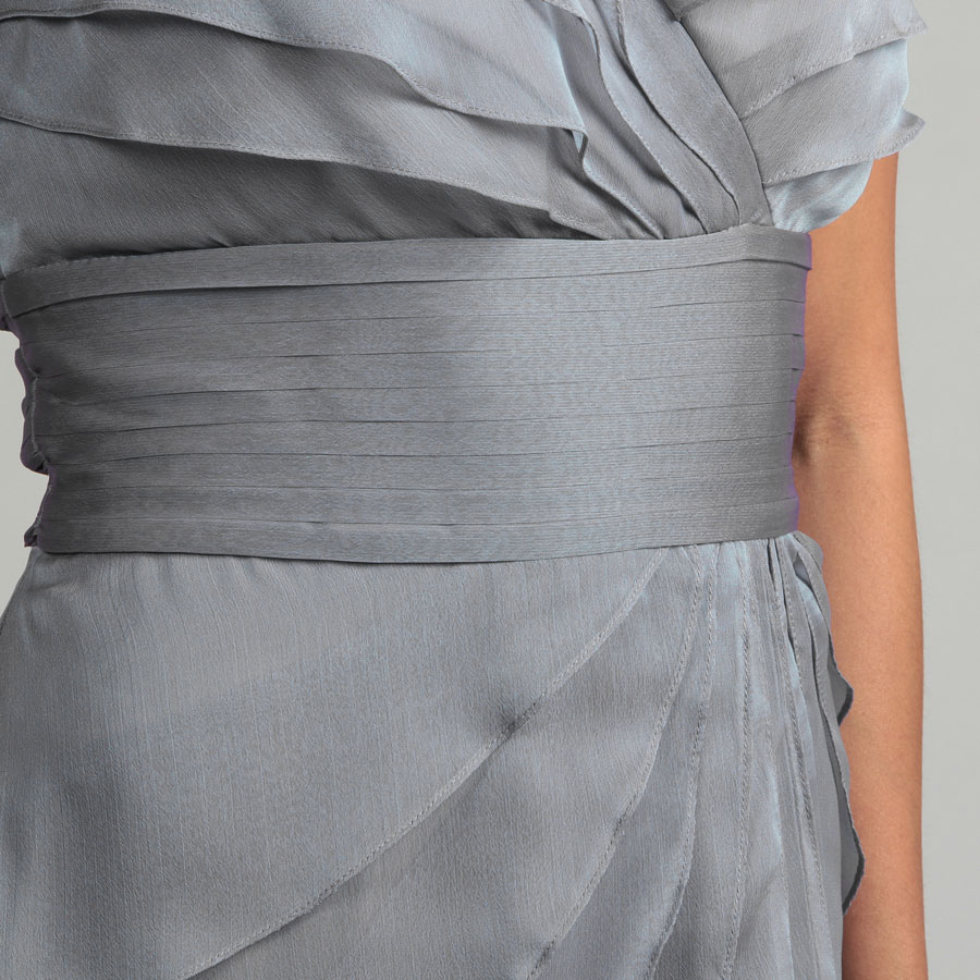 grey chiffon tiers short cocktail dress v neck details