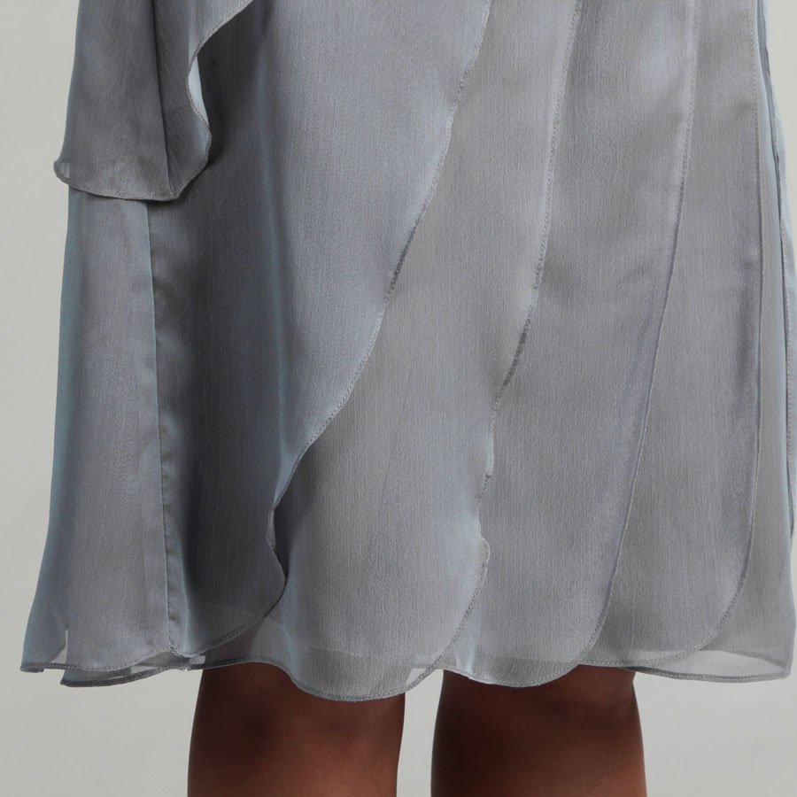 grey chiffon tiers short cocktail dress details