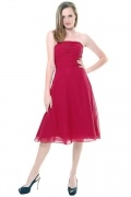 Ruched Strapless Empire Knee Length A line Chiffon Wedding Party Dress
