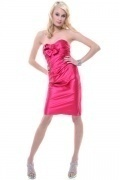 Bow Ruched Sweetheart Short Sheath Satin Bridesmaid Dress