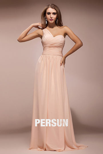 Dressesmall Simple Ruched One Shoulder Chiffon Long A line Formal Dress