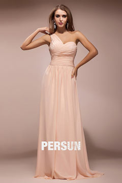 Cheap One Shoulder Ruching Chiffon Sash Long A line Pink Bridesmaid Dress