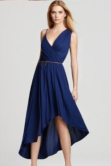 Modisch A Linie Asymmetrisch Abendkleid in Blau  aus Chiffon Persun
