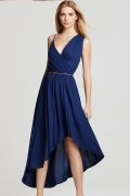Ruched V neck Navy Chiffon High Low A line Formal Dress