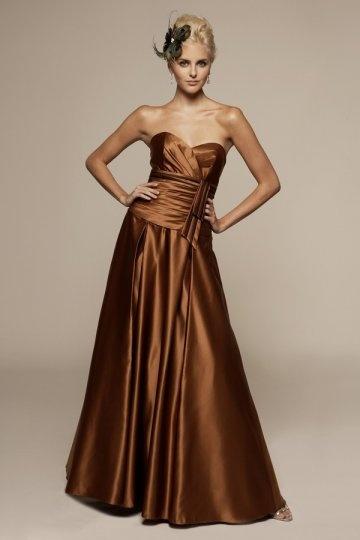 Chic Braun Herz Ausschnitt A Linie Empire Langes Abendkleid aus Organza Persunshop