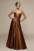A line Sweetheart Ruched Coffee Floor Length Satin Homecoming Dress