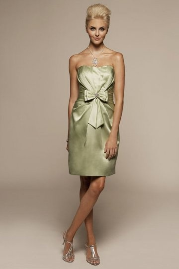 Bow Strapless Knee Length Satin Sheath Wedding Party Dress