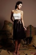 Bow Sweetheart Satin White & Black Knee Length A line Formal Dress