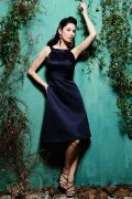 Ruching Boatneck Knee Length Navy Satin A line Formal Dress