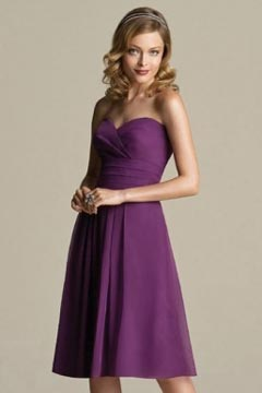 Epping Chiffon Sweetheart Purple Knee Length A line Bridesmaid Dress