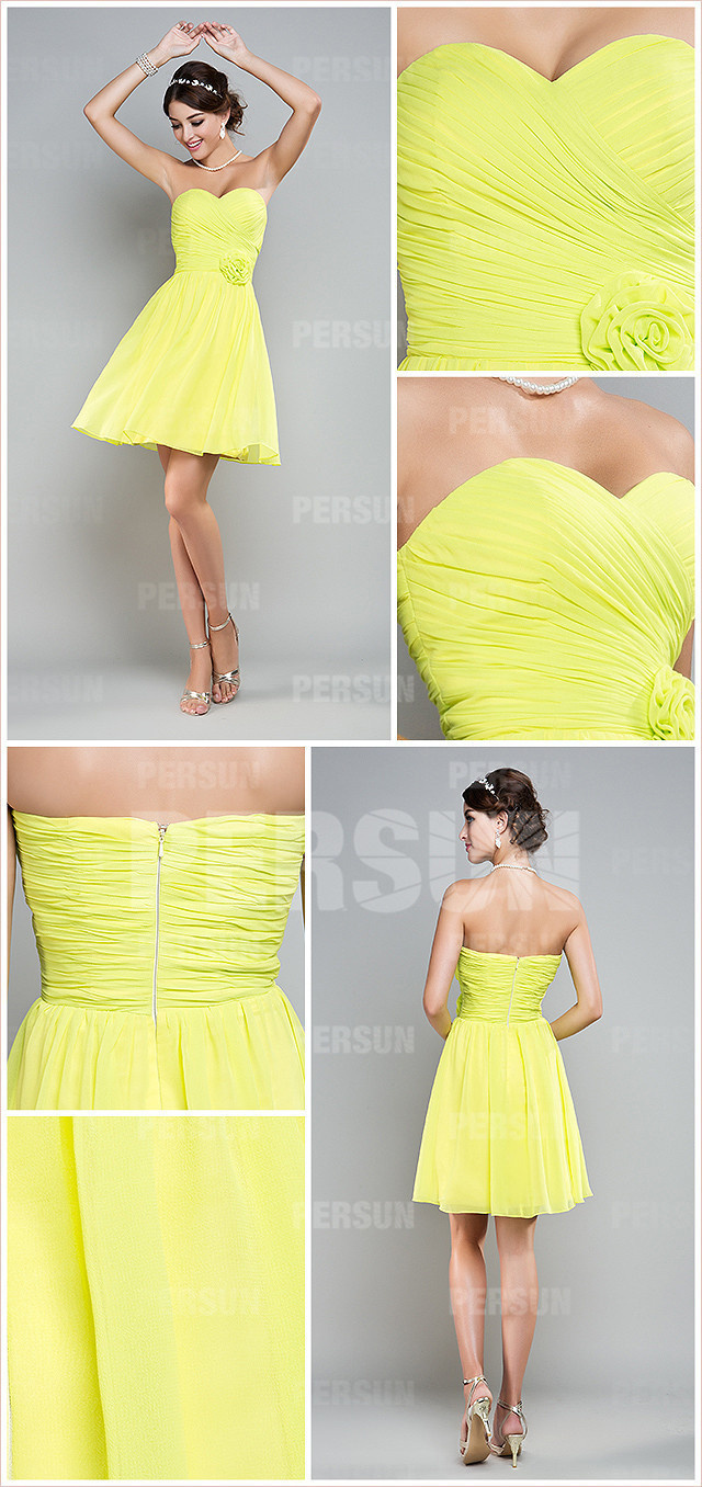 Ruched Sweetheart Chiffon Green A line Knee Length Bridesmaid Dress