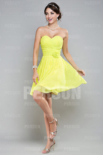 Dressesmall Ruched Sweetheart Chiffon A line Knee Length Formal Dress