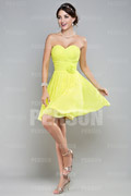 Sweetheart Green Ruched Knee Length Chiffon Bridesmaid Dress