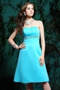 Strapless Beading Knee Length A-line Satin Bridesmaid Dress